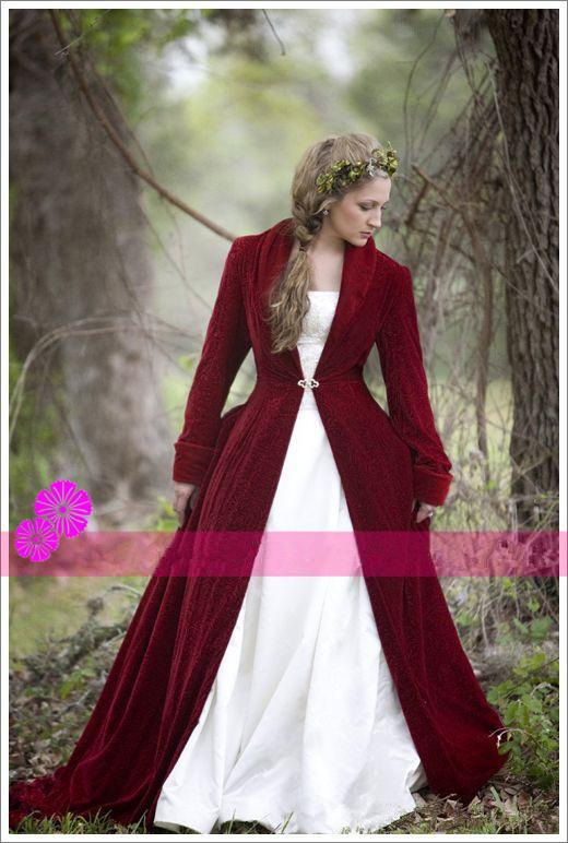 Christmas Burgundy Red Velvet Bridal Cloaks With Long Sleeves Sweep Train V-Neck Winter Wedding Capes / Coat / Jackets / Wraps