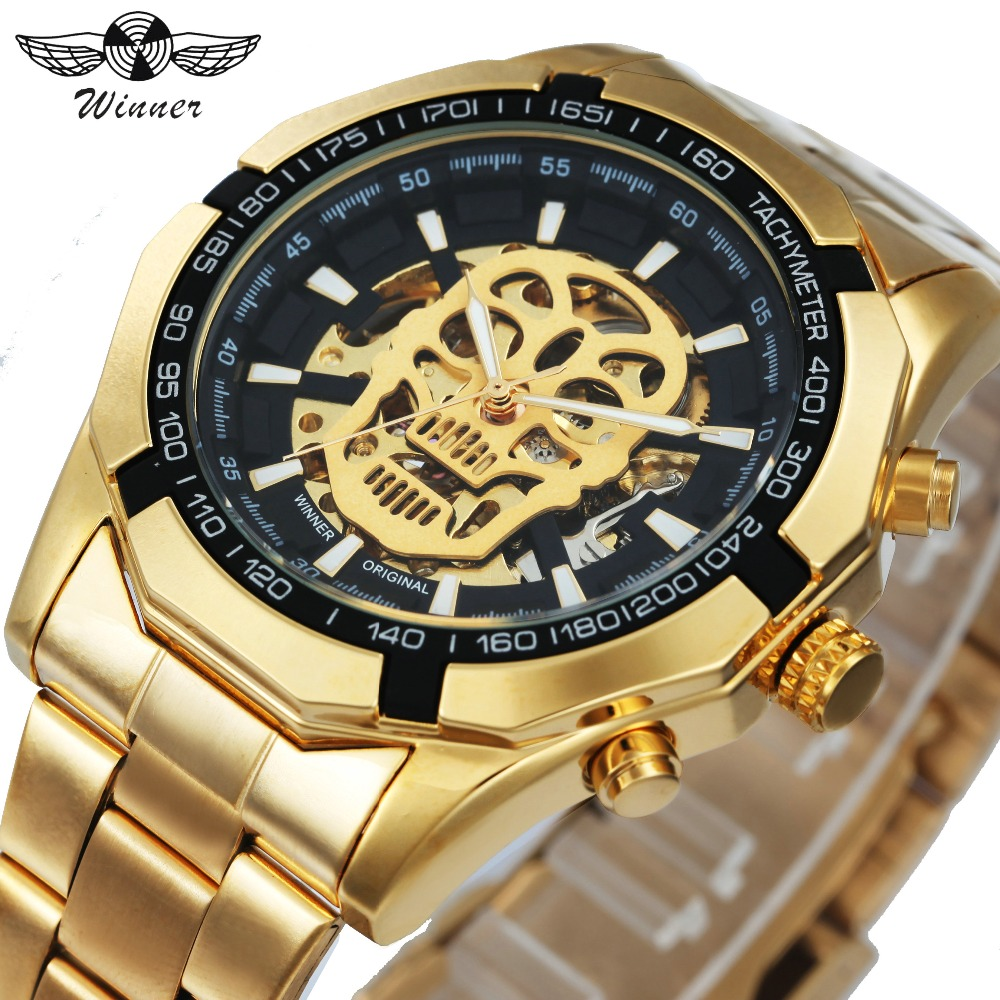 WINNER New Fashion Mechanical Watch Men Skull Design Top Brand Luxury Golden Stainless Steel Strap Skeleton Man Auto Wrist Watch winner dress classic men automatic mechanical watch stainless steel strap blue roman number transparent case design wrist watch