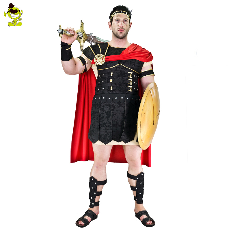 Brave Roman Gladiator Costume Set Medieval Knight Halloween Mens Warrior Dress Up Role Play Clothing Props Roman Soldier Dress