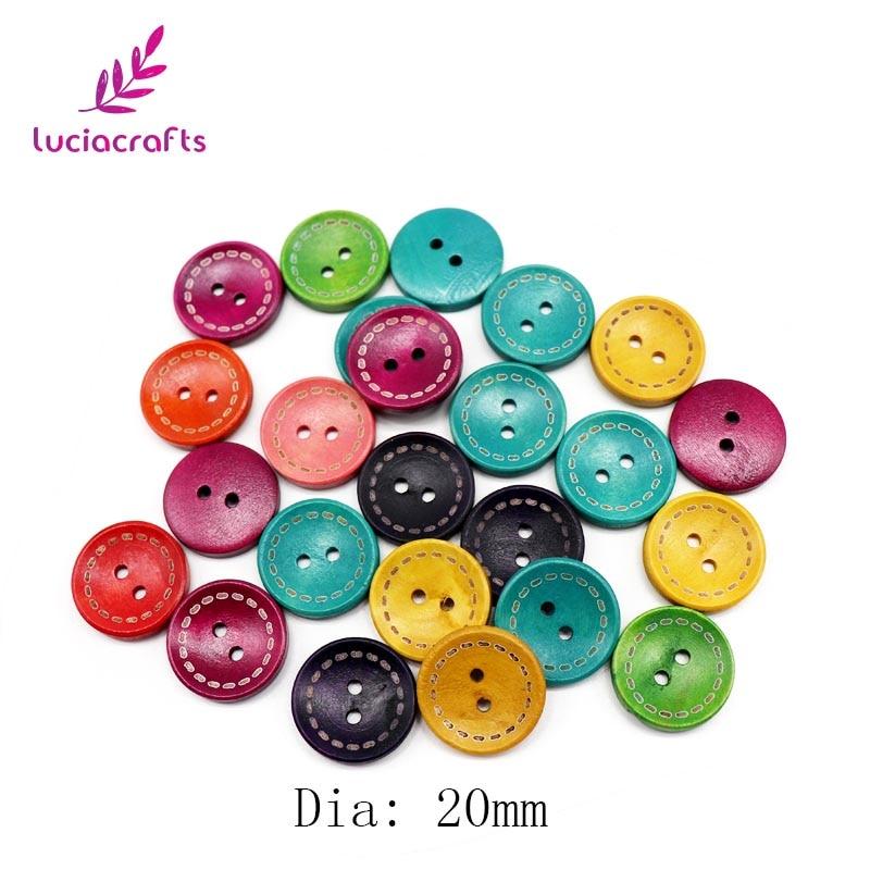 Lucia ремесла 12 шт 20 мм/25 мм случайным образом Смешанные Круглые деревянные пуговицы для одежды DIY шитье, скрапбукинг, аксессуары DIY E0201 - Цвет: 20mm