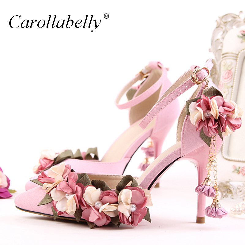 2017 Flower Women Sandals Ankle Strap High Heels 9cm Shoes Wedding Party Women Shoes zapatos mujer Size 4~9 size 4 9 summer black women shoes elegant white flower high heels shoes cross women pumps zapatos mujer check foot length