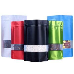 Image 4 - Leotrusting 100pcs Stand up Nero Opaco Foglio di Alluminio Finestra Zip Serratura Sacchetto di Caffè In Polvere Sacchetto di Immagazzinaggio Finestra Smerigliato Noci sacchetto del regalo