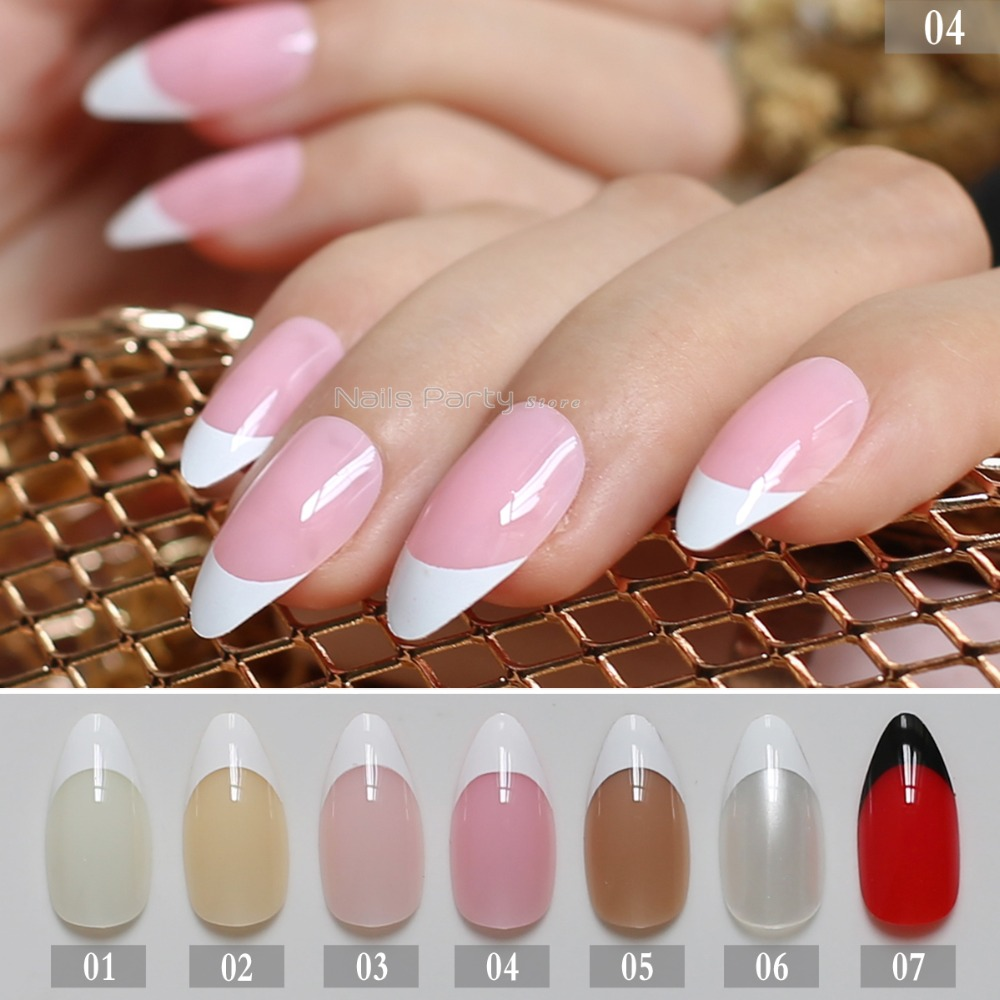 French <font><b>Nails</b></font> Simply Beige White <font><b>False</b></font> <font><b>Nail</b></font> <font><b>medium</b></font> Tips <font><b>Designed</b></font> pearl <font><b>Nail</b></font> Art Tips 24PCS yellow natural Pink full sets brown image