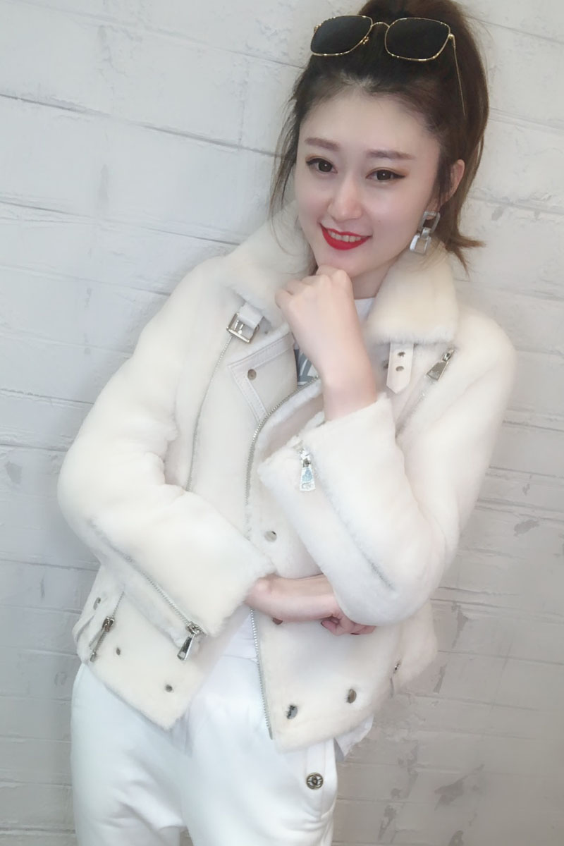 Cuir Réel Laine Fourrure Veste Manteau 2018 Véritable En De Manteaux face Double Tops Femmes Vêtements Blanc Hiver Mode bleu EzPxSqnS6f