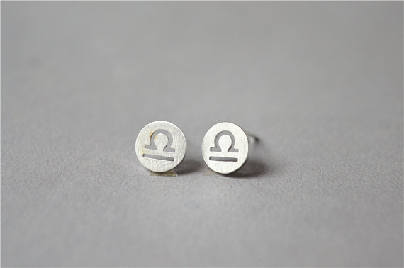 1Pair Libra Earrings Signs 12 Zodiac Constellation Earrings Horoscope Astrology Round Circle Disc Stud Earrings