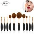 10 UNIDS Por Juego de Cepillos de Dientes Forma Oval MULTIPURPOSE Pinceles de Maquillaje Conjunto de Cepillo Del Maquillaje Profesional Fundación Powder Brush Tool