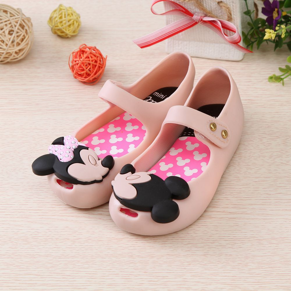 Mini Melissa 2018 Mickey Minnie Girls Sandals Jelly Shoes Children Sandals Breathable Non-Slip High Quality Jelly Shoes Melissa