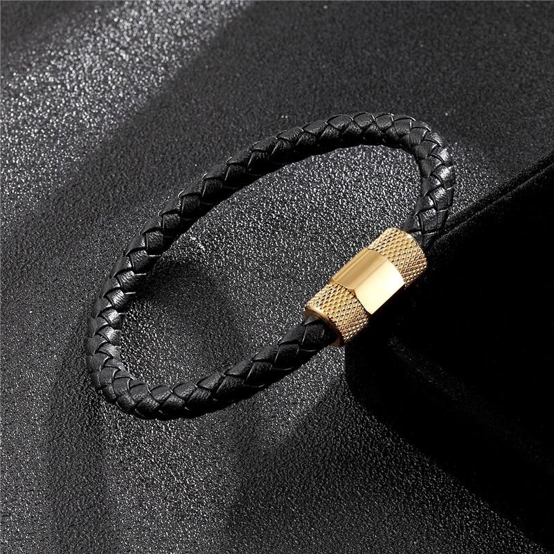 Купить новый мужской браслет из нержавеющей стали модный черный кожаный