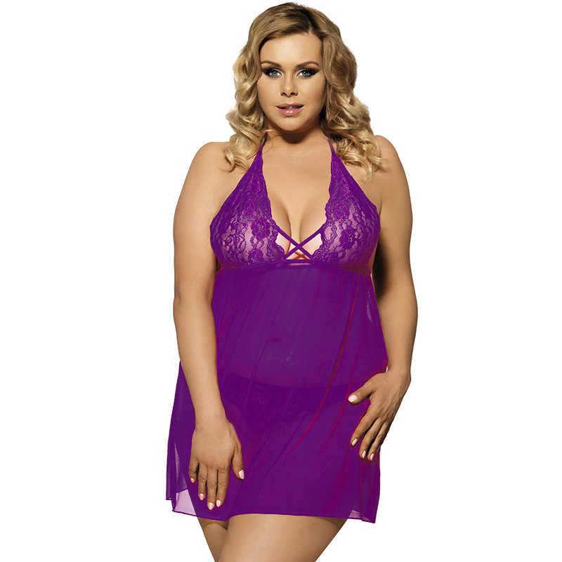 Женское сексуальное очаровательный пеньюар нижнее белье кружевная ночная рубашка большого размера платье