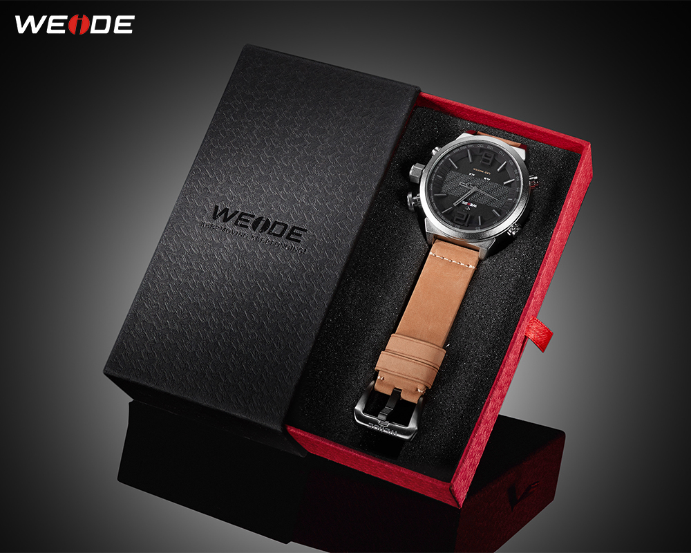 WEIDE Mens Sport Brand Digital Auto Date Alarm Leather Strap Back Light Quartz Multiple Time Zone Wristwatches relogio masculino