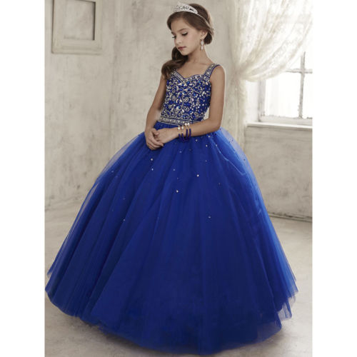 Stock Size4/6/8/10/12/14 Dark Blue Flower Girls Dress Formal Occasion Ball Gowns napapijri guji check dark blue