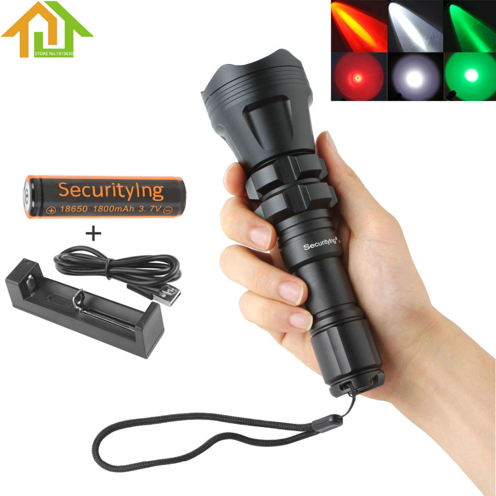 SecurityIng Red/Green/White Led 900LM Hunting Flashlight XM-L2 U4 5 Modes Zoomable Waterproof 18650 Torch + Remote Pressure led hunting flashlight uniquefire green red white light uf 1503 xpe torch alumium metal for outdoor camping free shipping