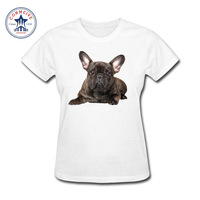 2017 Funny Hip Hop Printed Funny Girl S Cute French Bulldog Dog Cotton Funny T Shirt