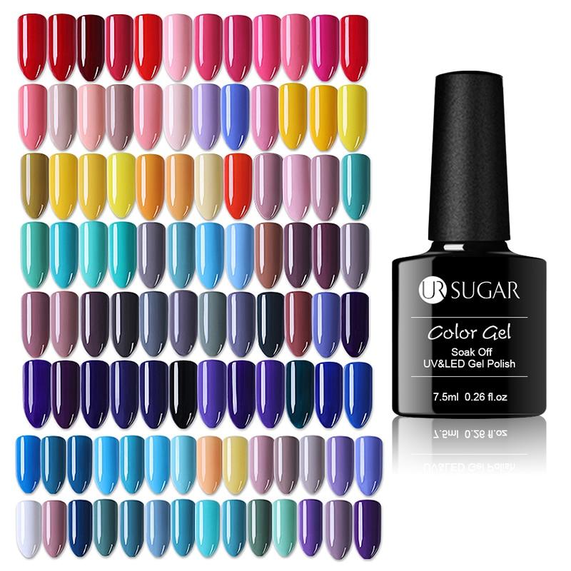 UR  7.5ml Nail Polish Semi Permanent  Nail Color Gel Polish UV LED Nail Art Soak Off UV Gel Varnish