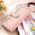Fashion Women Vintage Wallet Matte Stitching Women Long Brand Purse Clutch 9 Colour Handbag Wristlet Carteira Feminina