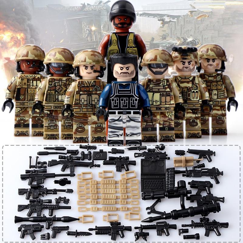 8pcs Heavy Fire Soldier Army Military World War 2  Weapon SWAT Gun CS Corps Building Blocks Boy Educational Toy children Gift