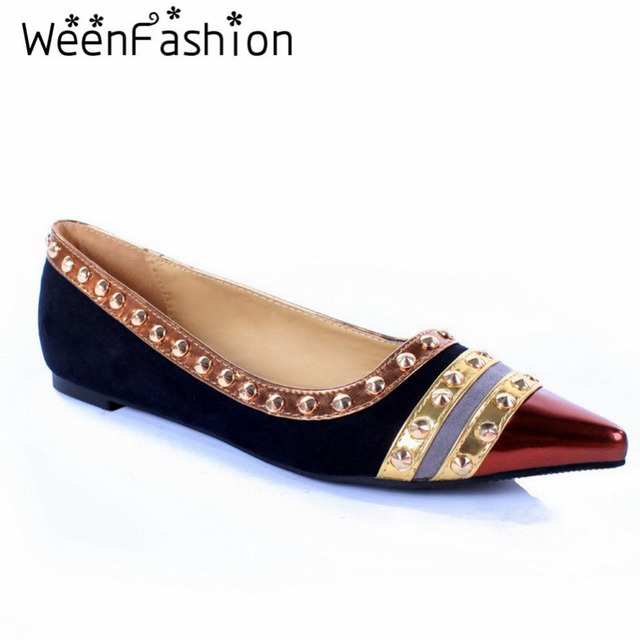 WeenFashion New Retro Women Rivets Flats Shoes Paillette Womans Pointed Toe Mixed Colors Shoes Party High Quality Rubber Soles