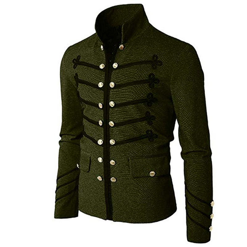 Men Gothic Jacket Uniform Steampunk-Tunic Military-Coat Frock Vintage Male Outwear Solid