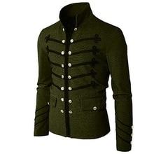 Винтажная Мужская Готическая куртка в стиле стимпанк, туника в стиле рок, униформа для мужчин в стиле ретро, панк, приталенный костюм, металлический военный пиджак, верхняя одежда