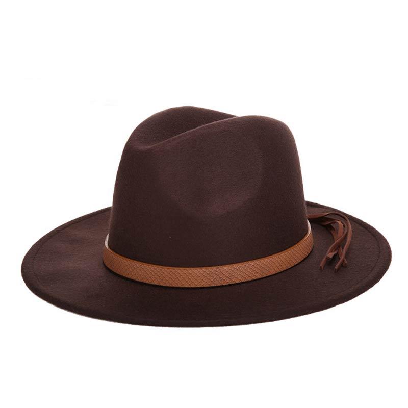 Горячая мода шерстяная шляпа зимняя женская мужская фетровая шляпа широкополый цилиндр шляпы женские винтажные большие Sombrero Джаз открытый кости - Цвет: Coffee