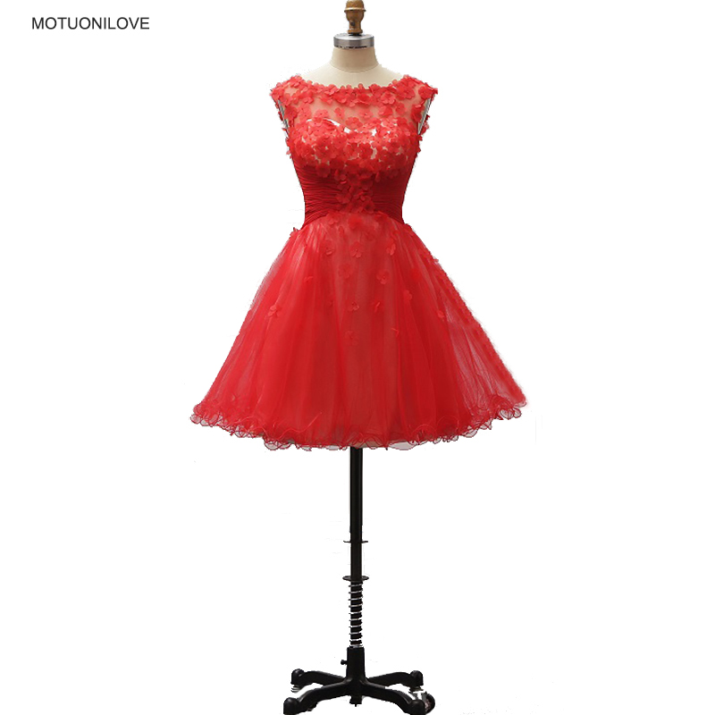 Red Flowers Sleeveless Graduation Party Dress Elegant Fashion Cocktail Dresses Knee Length A Line Girl Homecoming Club Dresses in Cocktail Dresses from Weddings Events