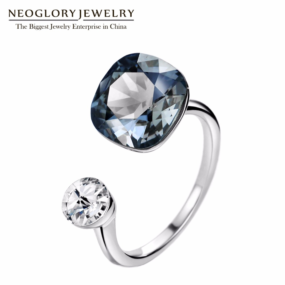 Neoglory MADE WITH SWAROVSKI ELEMENTS Crystals Rings Silver Color Wedding Rings Gifts For Women Fashion Jewelry 2018 New joyashiny made with swarovski element crystals angel pendant necklace cute silver color wing jewelry chic gifts for kids girls