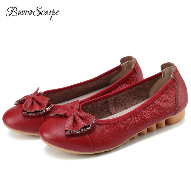 BuonoScarpe נשים להחליק על פרפר קשר דירות עור אמיתי נעלי אוקספורד אחות נעליים שטוח גדול גודל ריינסטון Lofers Zapatos Mujer