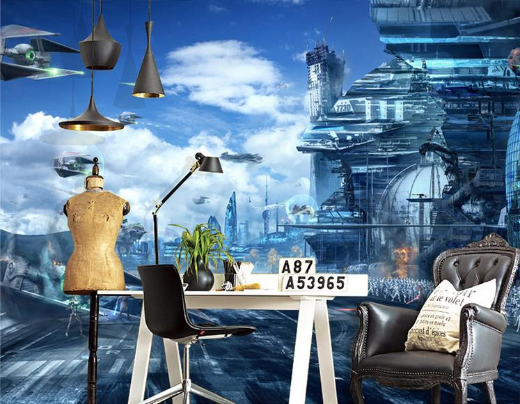 3d wallpaper custom photo livingroom mural non-woven wall sticker Star Wars HD fantasy painting background wallpaper for wall 3d цена 2017