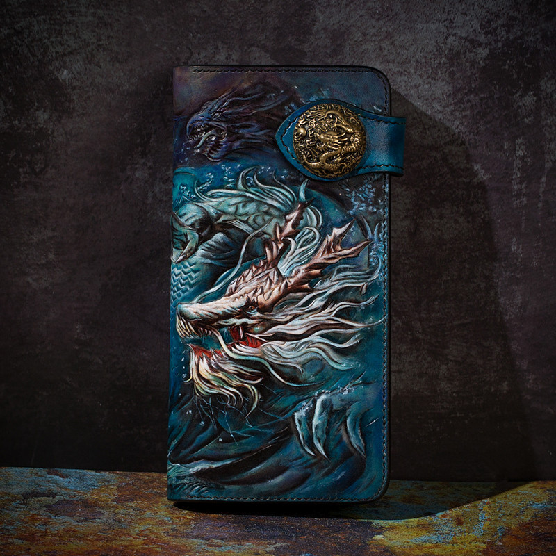 High-end Handmade Wallets Carving Underworld  Mythical Animal Purses Men Long Clutch Vegetable Tanned Leather Wallet Card Holder