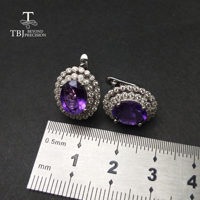 TBJ,Classic diana clasp earrings with natural amethyst in 925 sterling silver earrings for women deep and light color selection