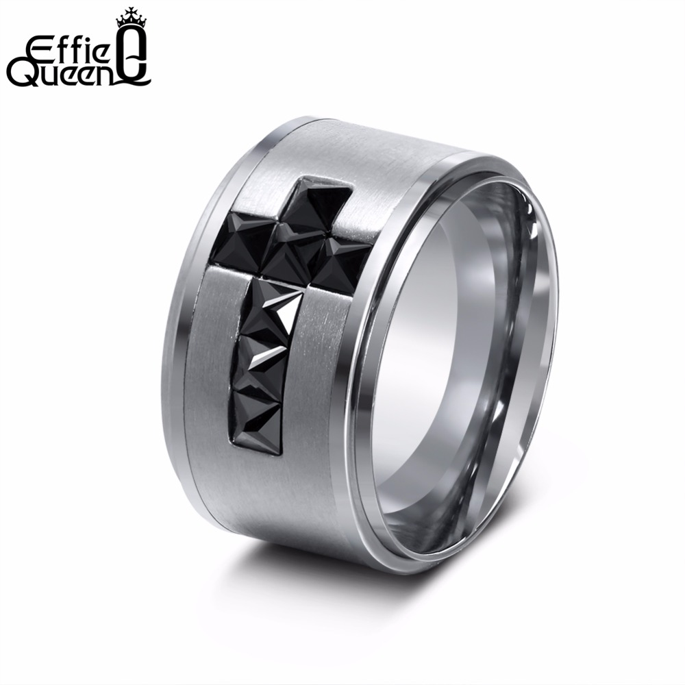 Effie Queen New Black Cubic Zirconia Stainless Steel Rings Classic Cross Big Finger Ring 13mm Mens Jewelry IR50