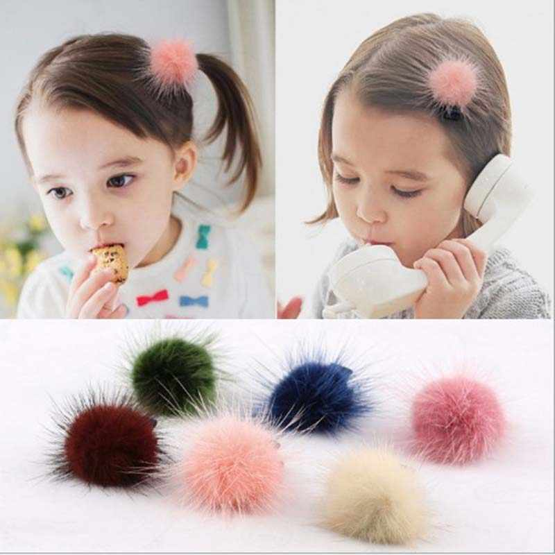 Baby Children Cute Headwear Accessories Mini Mink Ball Rubber Headbands for Girls Solid Color Pompon Gum Elastic Hair Rope