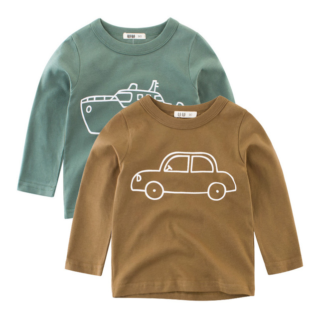 2019 Autumn Kids Tshirt Baby Boy Girls Clothes Cotton Children T-shirts for Boy Cartoon Print Long Sleeve Tops Boys T Shirts