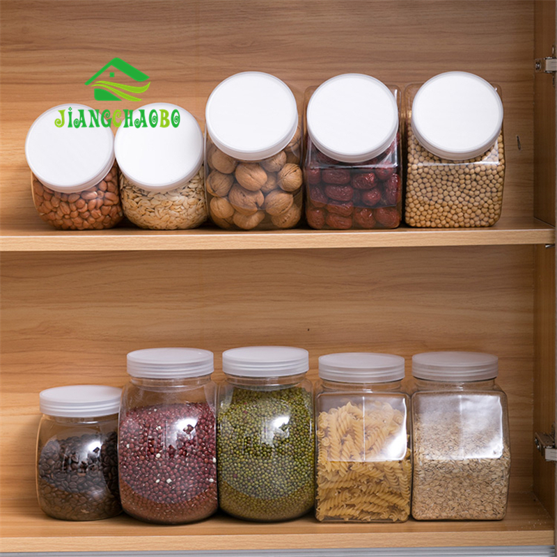 JiangChaoBo Plastic Transparent Storage Tank Sealed Cans Food Jars Household Kitchen Cereal Storage Boxes Storage Tanks