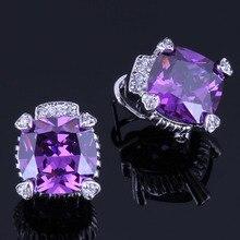 Ravishing Square Purple Cubic Zirconia White CZ 925 Sterling Silver Clip Hoop Huggie Earrings For Women V0903