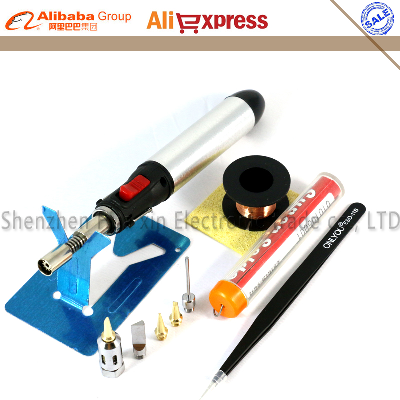 High Capacity Flame Butane Gas Soldering Iron Kit Set Pen Flame Torch DIY Tool Tip use Butane Gas