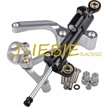 CNC Steering Damper Stabilizer and Silver Bracket Mounting For Ducati 696 796 795 all years