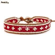 Стиль красный бисер Серебряный крест wrap браслет для женщин