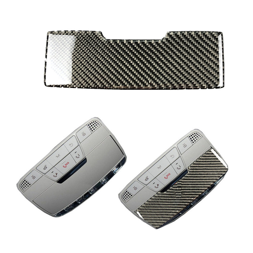 3D Carbon Fiber Reading Lamp Glasses Paste Trim Cover Sticker For Mercedes Benz C Class <font><b>W205</b></font> C180 C200 <font><b>C300</b></font> 14-18 GLC 16-18 image