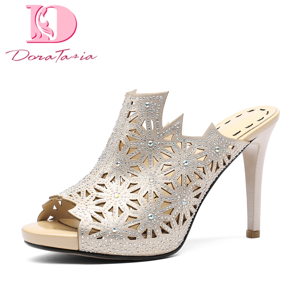 DoraTasia 2018 brand design trendy platform Summer Mules Pumps Shoes Woman sexy High Heels Party Women Shoes bonjomarisa 2018 summer brand sexy women mules print patent leather pumps crystal high heels party wedding shoes woman