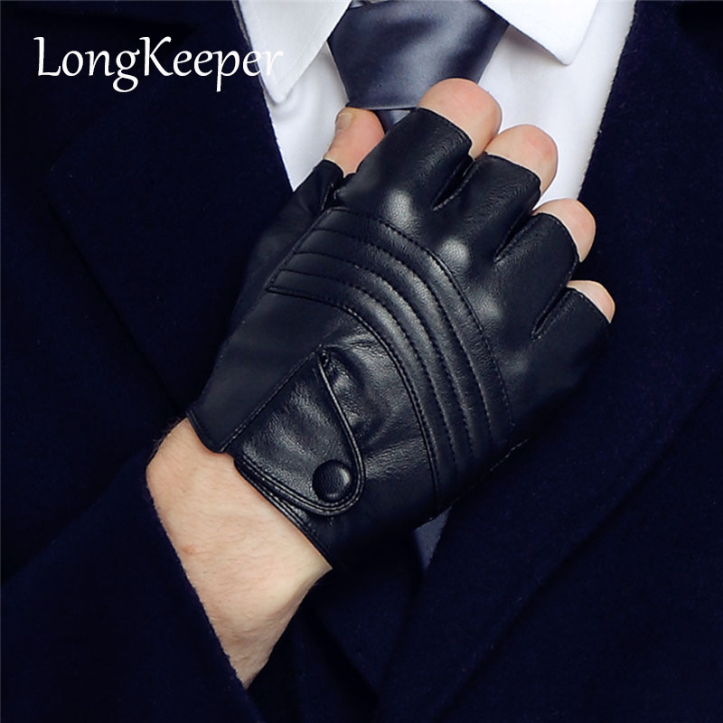 LongKeeper New Style Herre Leather Driving Gloves Fitness Hansker Half Finger Tactical Hansker Black Guantes Luva G223