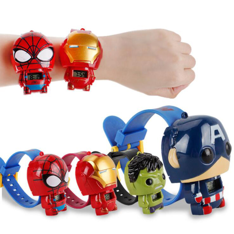 2019 QMXD Brand Wristband Hot Avengers  Electric Kids Boy Watch Hulk Ironman Figure Model Toys Action Figures For Children Gifts