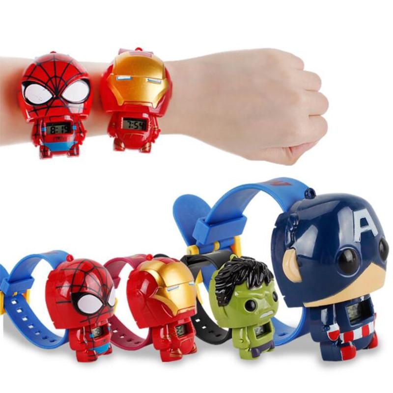 2019 QMXD Brand Wristband Hot Avengers  Electric Kids Boy Watch Hulk Ironman Figure Model Toys Action Figures For Children Gifts