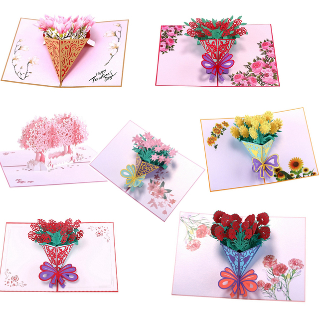 3d Pop Up Flower Greeting Cards Handmade Birthday Wedding Invitation