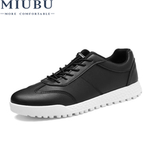 MIUBU Man Leather Casual Shoes Men Pu Business Brogue Fashion Classics Style Lace-up Patchwork Breathable High Quality