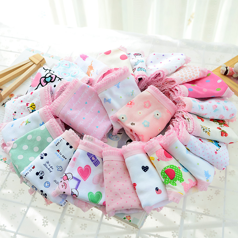 3pcs COTTON Baby Girls Undertøy Panties Girls Infant Baby Bukser Cute Girls Undertøy Blandet Farge Cueca Infantil Toddler Girls