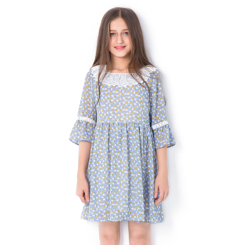 цена на Summer Girls Half Sleeve Dress Lace Collar Children's Sundress Pastoral Wind Girl Floral Princess Dresses Chiffon Clothes 12 Kid