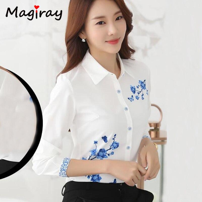 Long Sleeve Blue butterfly Flower Print Blouse Women 2021 Summer fall Top Elegant Work Office Plus Size Shirt White Blouse C181 3