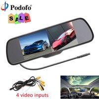 Podofo 4,3 дюймов автомобиля HD Зеркало заднего вида монитор CCD Видео Авто Парковочные системы светодиодный Ночное видение обращая заднего вида