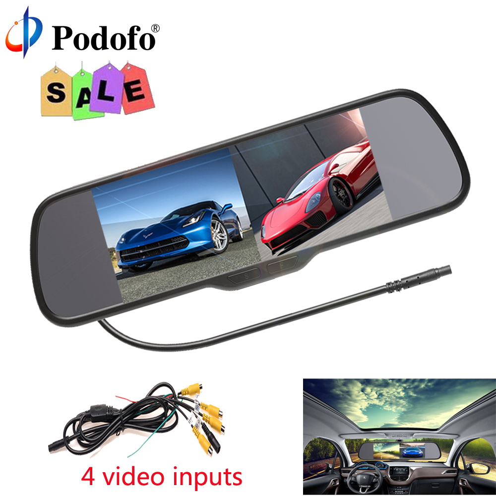 Podofo 4.3 inch Car HD Rearview Mirror Monitor CCD Video Auto Parking Assistance LED Night Vision Reversing Rear View Camera av 780 10pcs lo ahd dual backup cameras parking assistance night vision waterproof rearview camera monitor for rv truck trailer